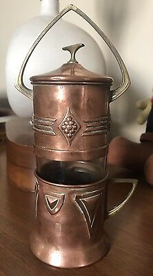 Vintage WMF Art Deco German Copper Brass Coffee Espresso maker Etched Glass Cup