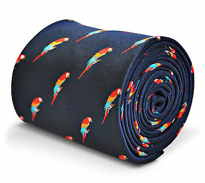 Frederick Thomas Navy Blue Mens Tie with Parrot pattern FT3214