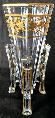 """Art Deco """"Rocket Vase"""" Well made Thick Glass Heavy Gold Gilding cool beans!"""