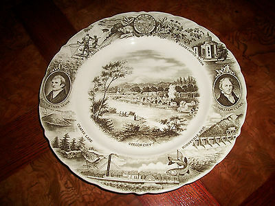 Vintage THE OREGON PLATE Johnson Bros England Meier & Frank Brown Perf. Cond.