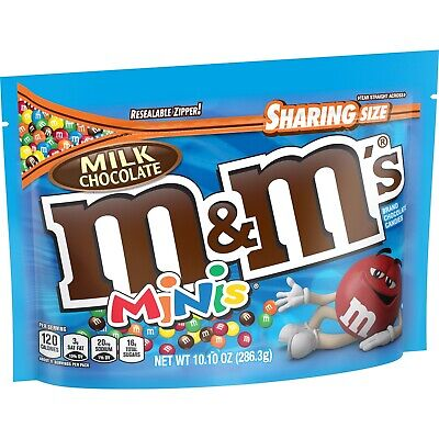 New Sealed Milk Chocolate M&m's Minis Sharing Size New Look 10.10 Oz Bag Mars
