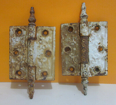Pair Vintage Iron Matching Door Hinges, Scrolled, Steeple Point Tips, 3.5 x 3