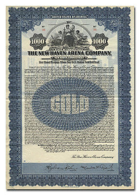 New Haven Arena Company Bond Certificate