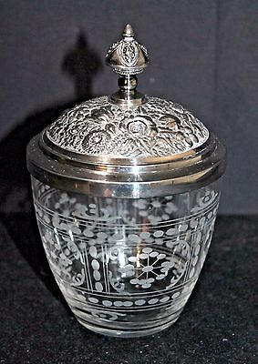 Antique Pairpoint Silver Plate Pickle Jar Olive Castor Flower Finial Repousse
