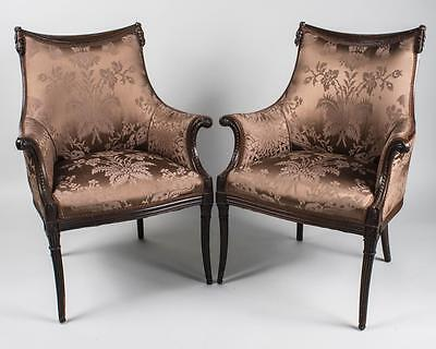 Pair of Antique Neoclassical Style Arm Chairs, Carved Rosewood