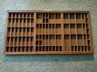 Vintage Wood Printer Cabinet Drawer Shadow Box w/ Mwetal Pull, 89 Sections