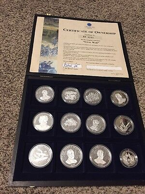 2000 American Mint Civil War Silver Coins Of Liberia Coin Set With Wood Case!