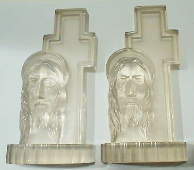 Vtg Cross Jesus Book Ends Religious Figure Clear Lucite Bible Study