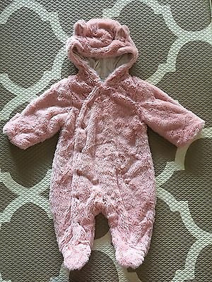 Baby Girl Winter Hooded Body Suit Pumpkin Patch Pink Teddy Bear As New 3 Months