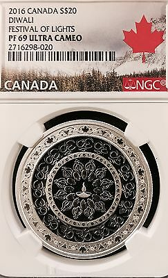 2016 Canada Silver $20 Diwali NGC PF 69 UC (India Indian navratri hindu hindi)