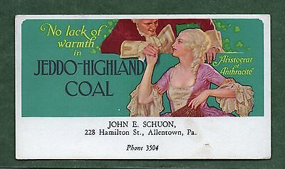 "JEDDO-HIGHLAND COAL Unused Blotter - 3¼""x5¾"", 1920's, Colonial Woman, Exc Cond"