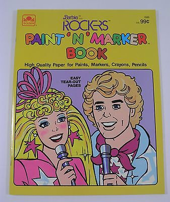 Unused Barbie And The Rockers Coloring Book Golden Mattel (1987)