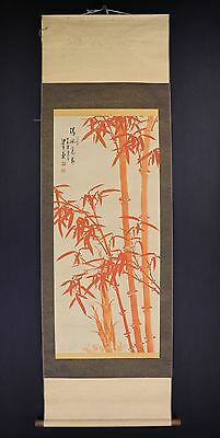"""CHINESE HANGING SCROLL ART Painting """"Red Bamboo"""" Asian antique  #E6529"""