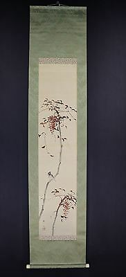 """JAPANESE HANGING SCROLL ART Painting """"Sparrow"""" Asian antique  #E6542"""
