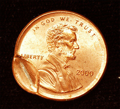 2000 Lincoln cent Broadstruck & Indent mint error Uncirculated Free S&H