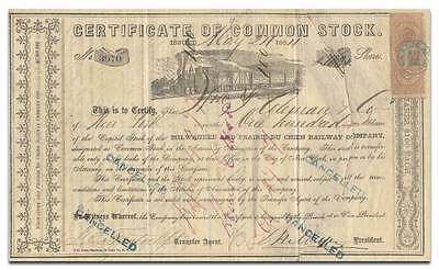 Milwaukee and Prairie du Chien Railway Company Stock Certificate (1864)