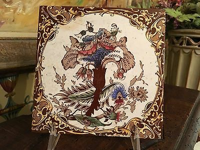 English Tile Staffordshire Victorian Art Nouveau Floral