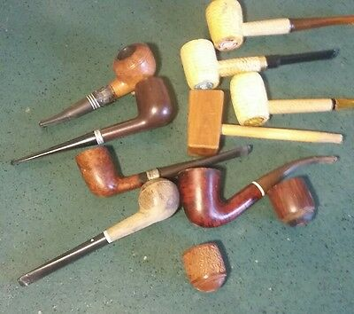 Vintage Lot Of 11 Tobacco Pipes and Bowls- Estate