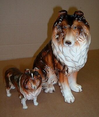 """BIG AND SMALL COLLIE DOG Old Figurines 11"""" And 6"""" Tall Figures Japan"""