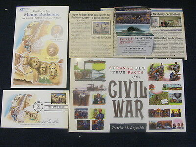Usa 2008 Signed Fdc Strange But True Facts Civil War Book & 2 Mount Rushmore