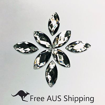 Grey Horse Eye Acrylic Crystal Flatback Rhinestones 7x15mm - 50pcs Sew On