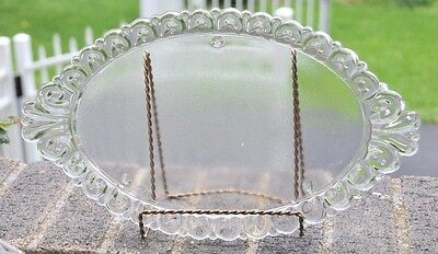 Vintage Glass Dresser Vanity Tray Plate with Scalloped edge