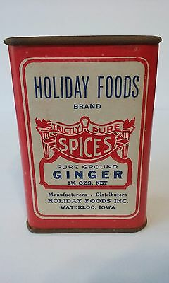Vintage NOS Rare HOLIDAY FOODS GINGER  Spice Tin With Error - Cardboard & Metal
