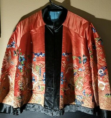Antique Chinese Silk Embroidered Woman Manchu Magua Short Robe Jacket Dragons