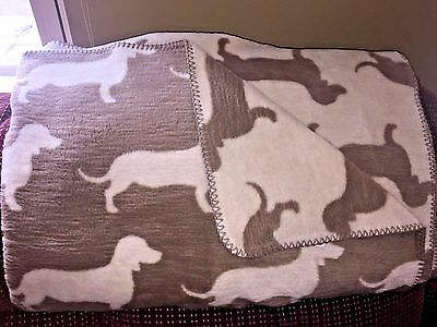 Reversible Brown & White Dachshund Doxie Dog Silhouette Large Throw Blanket NWT