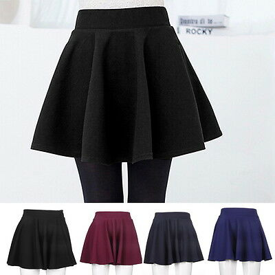 Fashion Women's Stretch Waist Plain Skater Flared Pleated Mini Skirt Short XP