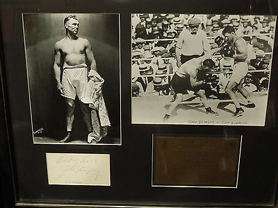 Heavyweight  Champion Jack Dempsey signed and framed tribute