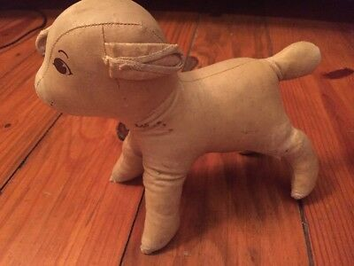 Vintage Oilcloth Lamb Stuffed Animal Toy 1930s 1940s Oil Cloth Stands
