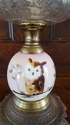 Antique Composite Pink Oil Kerosene Glass Lamp Hand Painted Owl Cast Iron Base
