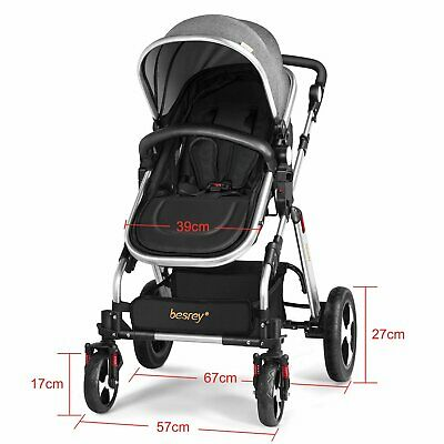 New Besrey Baby Carriage Foldable Travel System Stroller Buggy Pushchair Pram