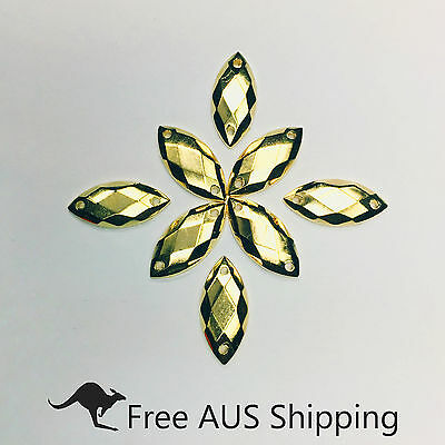 Metalic Gold Horse Eye Acrylic  Flatback Rhinestones 7x15mm - 50pcs Sew On