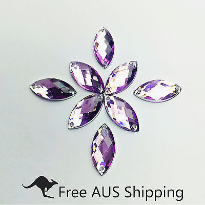 Light Purple Horse Eye Acrylic Crystal Flatback Rhinestones 7x15mm -50pcs Sew On