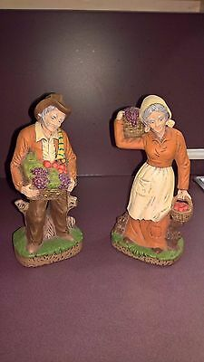 Vintage Old Man and Woman Carrying Grapes Figurines