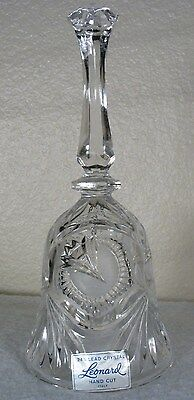 Vintage Leonard of Italy 24% Etched Hand Cut Lead Crystal 8' Bell