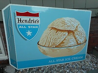 "VINTAGE ORIGINAL 1960s HENDRIE'S ALL STAR ICE CREAM METAL TIN SIGN HUGE 54"" X 40"