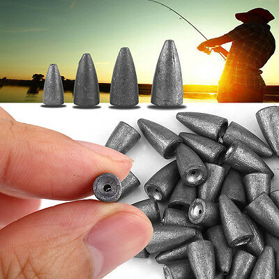 40pcs Fishing Lures Lead Weight Sinker Bullet Shape Fishing Tackle Accessory SG