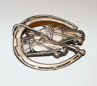 Horses Heads Horse Shoe Riding Crop Metal Brooch Pin