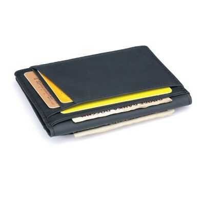 Men Real Leather Slim Thin Credit Card Holder Mini Wallet ID Case Wallet Black