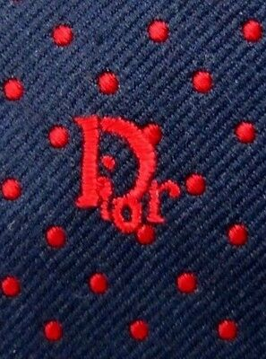 Vintage CHRISTIAN DIOR Sea Blue/Ferrari Red Polka Dot Embroidered Silk Neck Tie