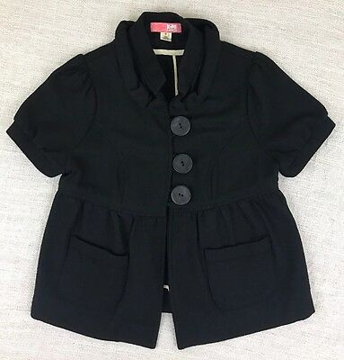 Lux Anthropologie Women's Sz S Black Wool Blend Short Sleeve Jacket Large Button