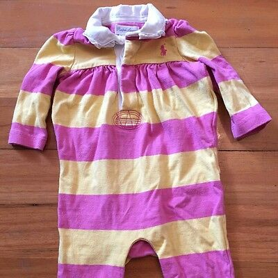 Baby Ralph Lauren Girl Winter Jumpsuit Clothes 0-3 Months Pink Yellow Stripes