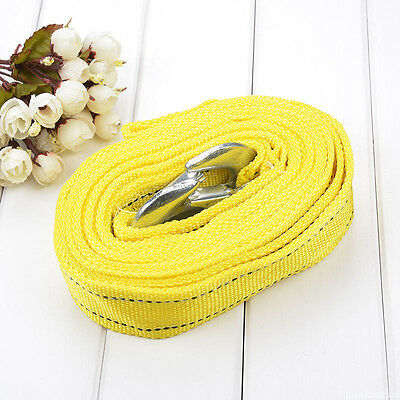 4M*5CM Tow Towing Pull Rope Strap & Hooks Heavy Duty Road Recovery 3 Tons Yellow
