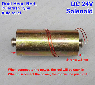 DC 24V 6A Push Pull Type Rod Solenoid DC MiniElectromagnet Dual Head Auto Reset