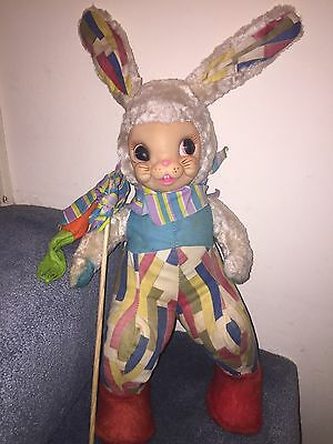 "Rushton Star Creation Bunny Rabbit 20"" Complete Carrot Easter 1950's Plush Toy"