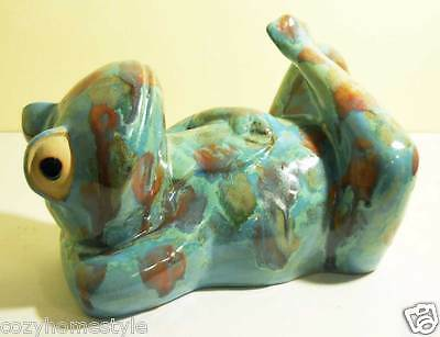 Resting Relaxing Happy Frog Art Studio Ceramic Porcelain  Large Figurine Gift