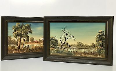 Miniature Oil Painting Lot of 2 Australian Landscape Signed $50 Free Post